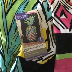 100% cotton BEACH TOWEL PINK TURQUOISE PINEAPPLE